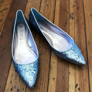 17ad9fdace0 Zara · NWOT Zara Woman blue silver glitter shoes